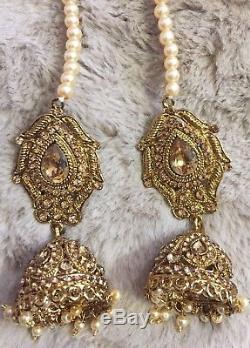 Jhumka Indian Earrings Jewelry Jhumki Bollywood Tikka Kundan Necklace Choker USA