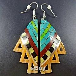 Kewa Artisan ONEIDA CATE' Multi Stone Inlay EARRINGS Orange Spiny Oyster Shell