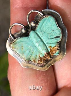 Killer Old Pawn Navajo Sterling Silver Turquoise Butterfly Moth Earrings