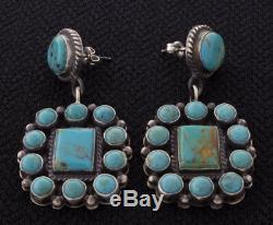 Kingman Turquoise Cluster Earrings By Navajo Artist Anthony Skeets