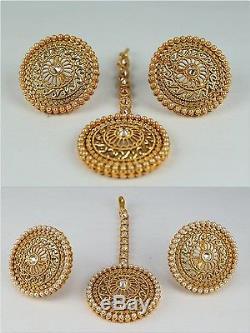 Kundan AD Indian Jewelry Women New Earring Maang Tikka Set Gold Plated