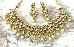 Kundan Indian Jewelry Jhumka Earrings Bollywood Kundan Necklace Mint Green Gold