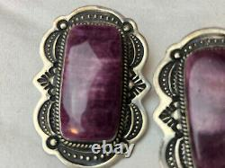 LARGE PURPLE 925 Signed Navajo DARRELL CADMAN Sterling Spiny Oyster Earrings