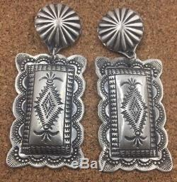LRG Navajo Sterling Silver Stamped Rectangle Concho Earrings By Vincent Platero