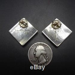 LYNOL YELLOWHORSE Vintage NAVAJO Sterling Silver & Multi Stone INLAY EARRINGS