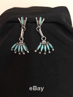 L. C. Waatsa Zuni Needlepoint Sterling Silver Turquoise Necklace & Earrings