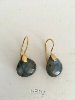 Labradorite Gold Plated Earrings Drop Indian Handmade