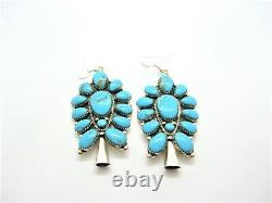 Large Native American Made Sterling Silver Turquoise Cluster Earrings