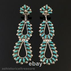 Large Native American Zuni Silver & Turquoise Needlepoint Chandelier Earrings