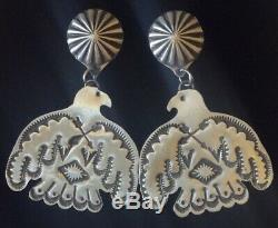 Large Navajo Old Pueblo Style Sterling Silver Thunderbird Concho Earrings