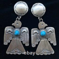 Large Navajo Sterling Silver Turquoise Bird Earrings Tim Yazzie