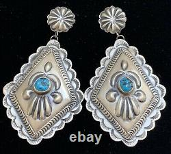 Large Navajo Sterling Silver Turquoise Concho Earrings Eugene Charley