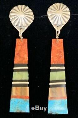 Large Santo Domingo Sterling Silver Concho Turquoise Coral Slab Earrings
