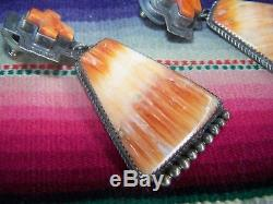 Large Southwest Navajo CROSS Orange Spiny Oyster Sterling Silver EarringsB Joe