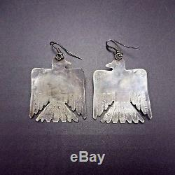 Large Vintage NAVAJO Sterling Silver & TURQUOISE Thunder Bird EARRINGS Pierced