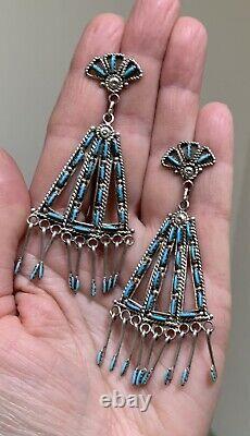 Large Zuni Sterling Silver Needlepoint Turquoise Earrings Kevin Leekity