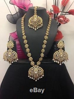 Latest Necklace Earrings Matha Patti tikka Indian Bollywood Jewellery Gold Tone