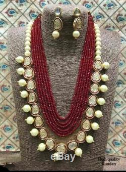 Latest South Indian Pakistani Kundan Red Baati Raani Haar Necklace Earring Set