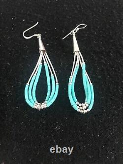 Liquid Silver Heishi Dangle Blue Turquoise Sterling Earrings 2