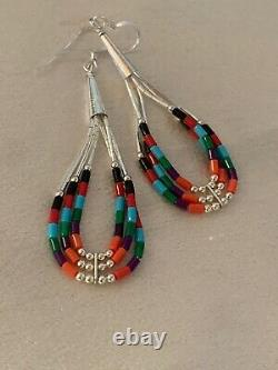 Liquid Silver Heishi Dangle Multicolor Turquoise Coral Sterling Earrings 2 2001