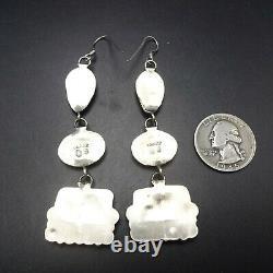 Long NAVAJO Sterling Silver ORANGE SPINY OYSTER Shell Dangle Pierced EARRINGS