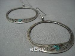 Long Waterbird Vintage Navajo Turquoise Sterling Silver Earrings Old