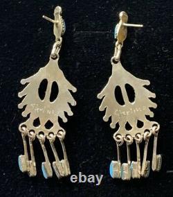 Long Zuni Sterling Silver Needlepoint Turquoise Earrings Bernadette Wyaco