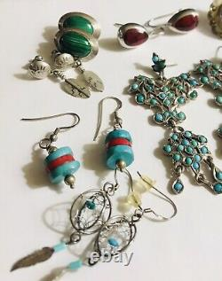 Lot 13 Pr 925 Sterling Silver Earrings Native Southwest Mexico Turquoise Nice