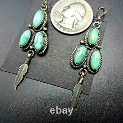 Lovely NAVAJO Sterling Silver TURQUOISE Cluster EARRINGS with Feather Dangle