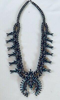 Lucy Wytsa Zuni Needlepoint Turquoise Sterling Squash Blossom Necklace Earrings