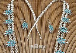 Mary Chavez Zuni Sterling Silver & Turquoise Squash Blossom and Earrings