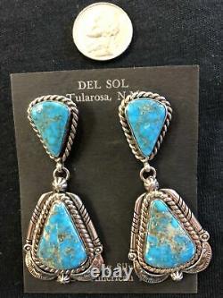 Matrix, Genuine Turquoise earrings by L. James, Navajo artist