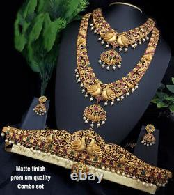 Matt Gold Plated Bollywood Indian Bridal CZ Jewelry Necklace Belt Earrings Set