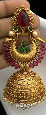 Matt Gold Plated Indian Jhumka Earrings Jhumki Wedding Bollywood Set Camp Stone