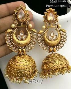 Matt Gold Plated Indian Jhumka Earrings Jhumki Wedding Bollywood Set Coral