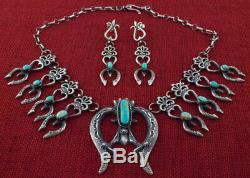 Mini Kingman Turquoise Squash Blossom Necklace And Matching Earrings