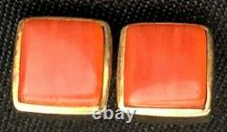 Mint! Charles Loloma Hopi Coral And 14k Yellow Gold Square Earrings Signed