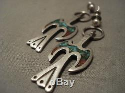 Museum Vintage Navajo MID Century Turquoise Coral Silver Earrings