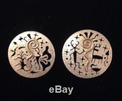 Myron Panteah Post Earrings Petroglyph Designs With 14K Gold Spiral