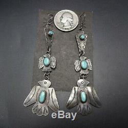 NAVAJO Hand-Stamped Sterling Silver THUNDERBIRD Arrowhead EARRINGS 3.75 Long
