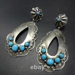 NAVAJO Hand-Stamped and Repousse Sterling Silver TURQUOISE Concho EARRINGS