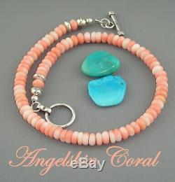 NAVAJO Pink ANGEL SKIN CORAL Charm BRACELET NECKLACE EARRINGS Squash Blossom