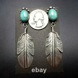 NAVAJO Sterling Silver Long Dangle Feather and TURQUOISE EARRINGS Pierced
