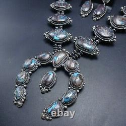 NAVAJO Sterling Silver RARE BISBEE Turquoise SQUASH BLOSSOM Necklace Earring SET