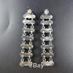 NAVAJO Sterling Silver RED MEDITERRANEAN CORAL Cluster Dangle Ladder EARRINGS