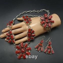 NAVAJO Sterling Silver RED MEDITERRANEAN CORAL Necklace Bracelet Earrings SET