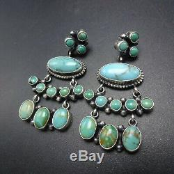 NAVAJO Sterling Silver TURQUOISE Cluster Dangle PIERCED EARRINGS Renelle Perry