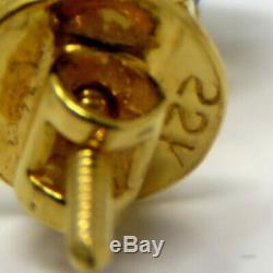 NYJEWEL 22K Yellow Gold Indian Turquoise Earrings Necklace Ring Wedding Set