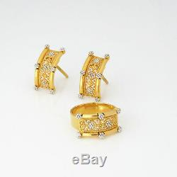 NYJEWEL 22k Two Color Gold Brand New Indian Style Ring & Earrings Set