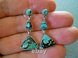 Native American 3-Stone Triangular Turquoise Sterling Silver Post Earrings